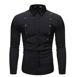 Men's Wild Solid Color Stitching Lapel Long Sleeve Shirt X54