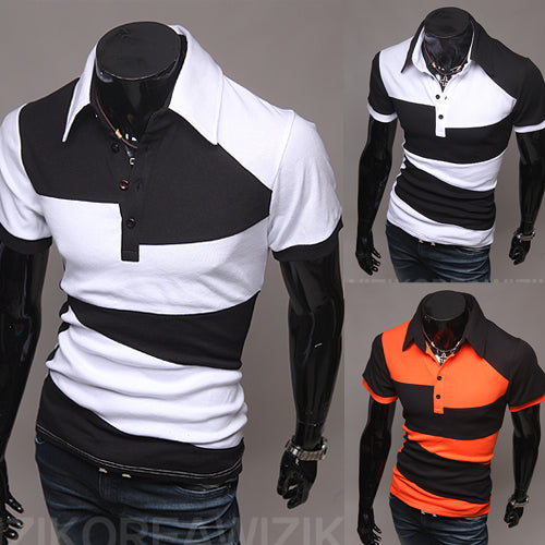 Men's Short Sleeve Lapel Splice Print Slim Casual Short Sleeve POLO 7844