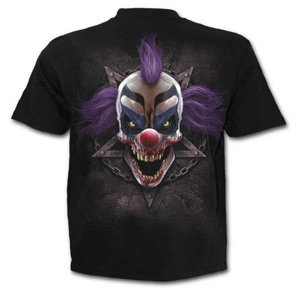 Men's O-neck Funny Polyester T-shirt - 3D Purple Clown Print Round Neck