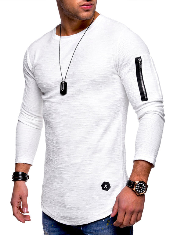 Men's Slim Solid Colored Long Sleeve Round Neck Zipper T-Shirt 1409-D303