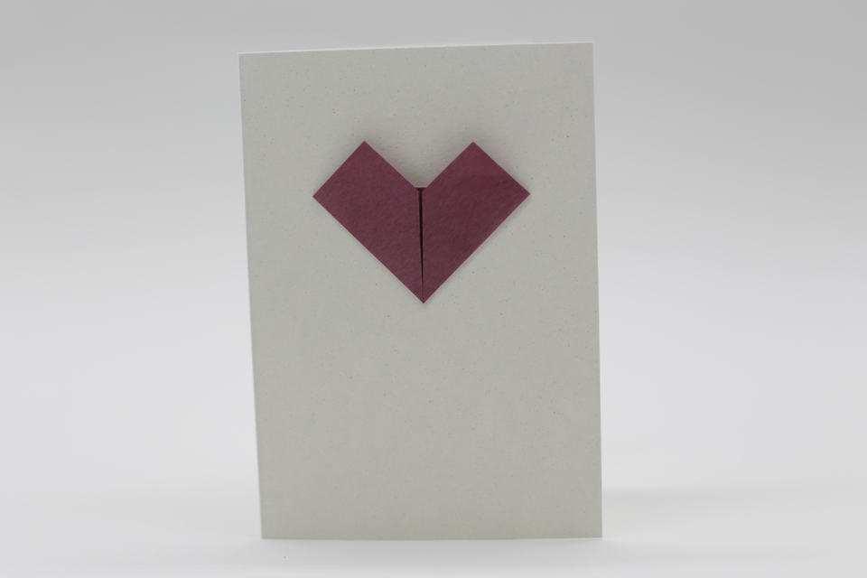 Greeting card with origami heart