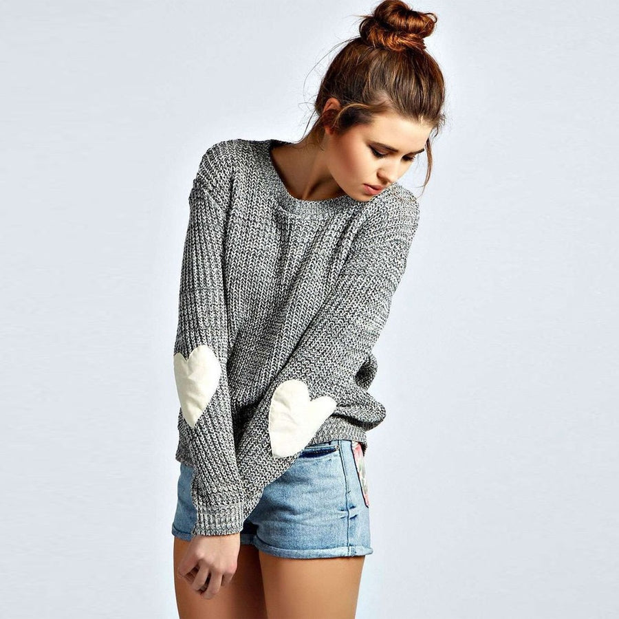 3b9c6415ce Loose Knitted Heart Patch Sweater