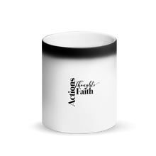 Load image into Gallery viewer, Actions, Thoughts, Faith Matte Black Magic Mug