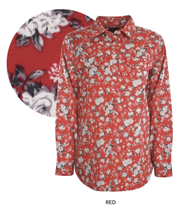 Womens Print Half Placket Long Sleeves Shirt (Red)