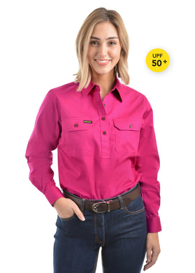 Womens Half Placket Light Cotton Shirt Bright Pink