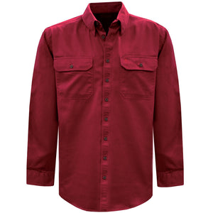 Mens Light Drill Full Placket 2-Pkt L/S Shirt - Various Colours