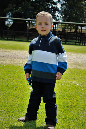 Boys Brandon Stripe Rugby (Navy/Royal)
