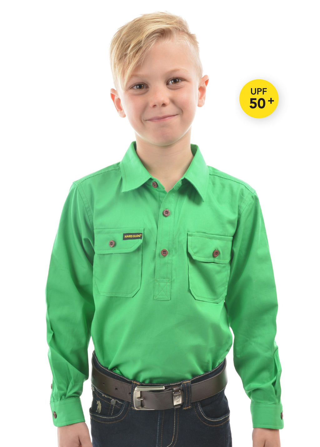 Kids Half Placket Light Cotton Shirt (Lime Green)
