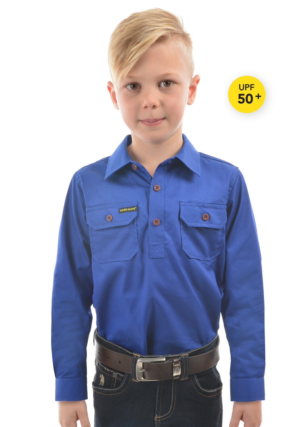 Kids Half Placket Light Cotton Shirt (Royal Blue)
