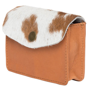 Cowhide Card and Change Purse - CA02 (Tan and White)