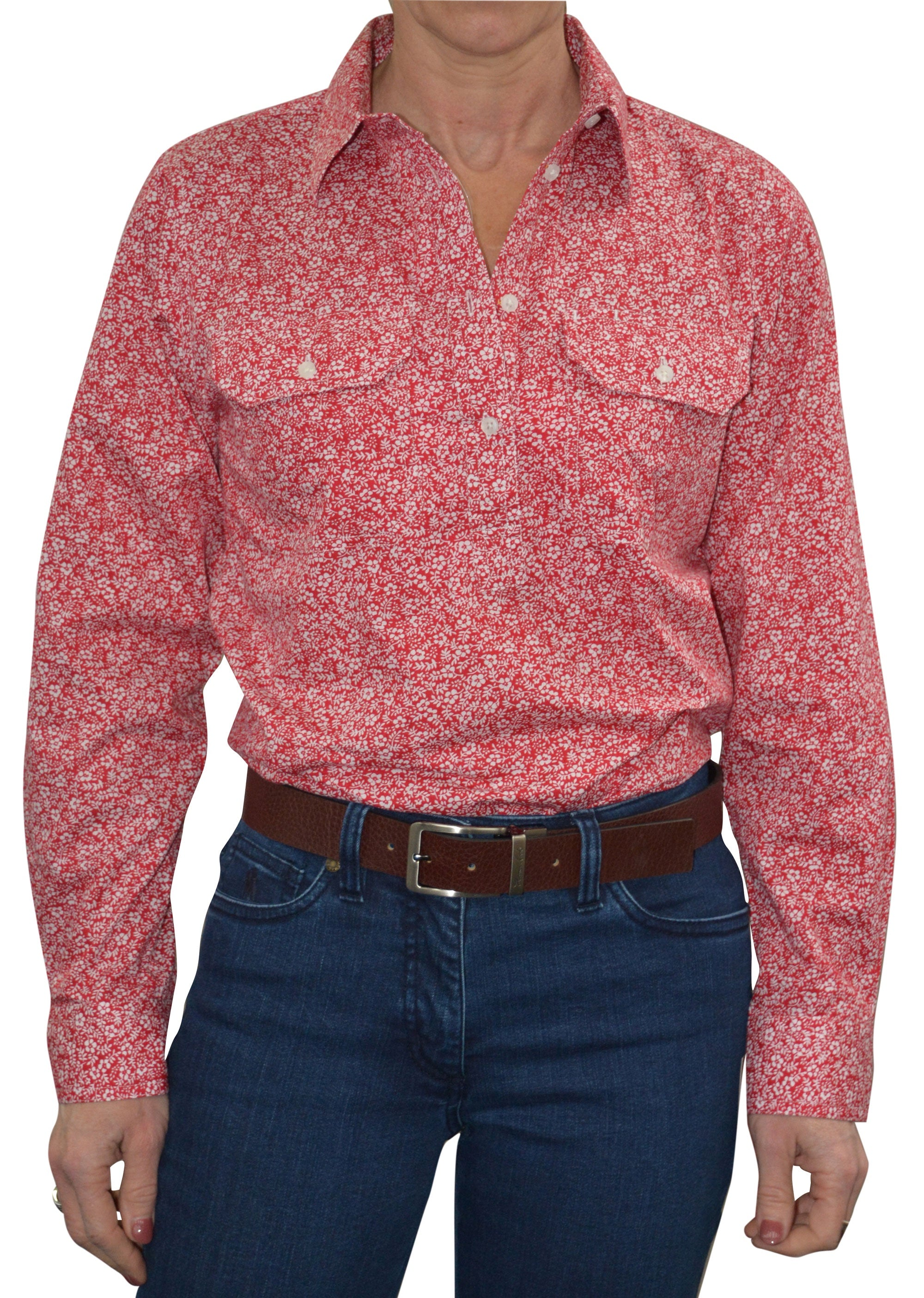 Womens Half Placket 2Pkt Print L/S Shirt (Red)