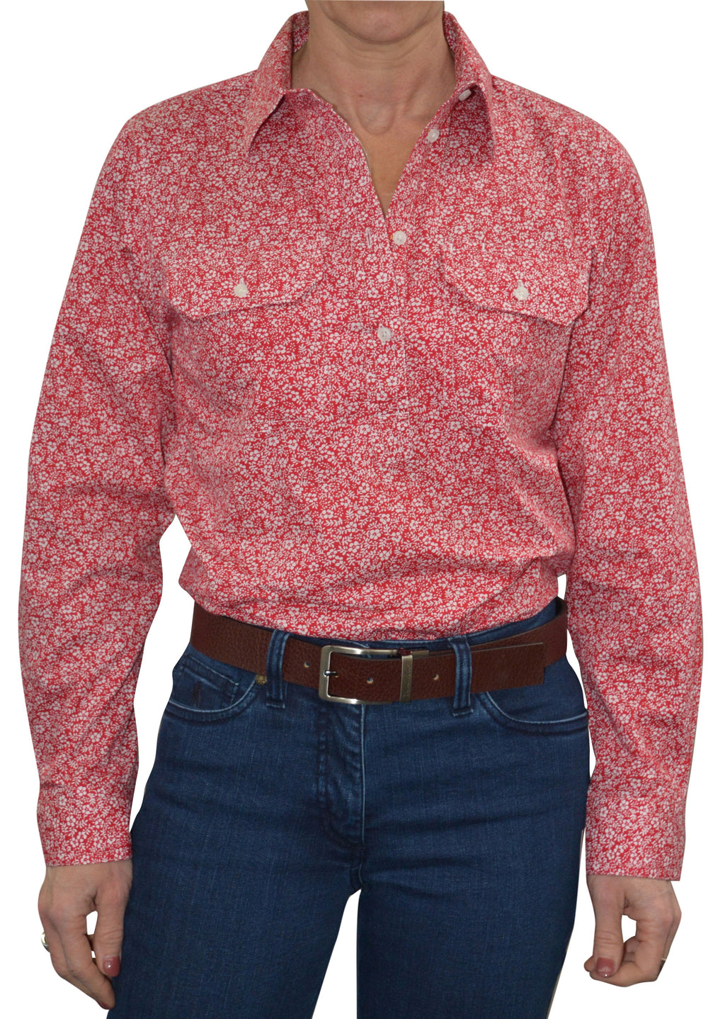 Womens Half Placket Red 2 pckt Print L/S shirt