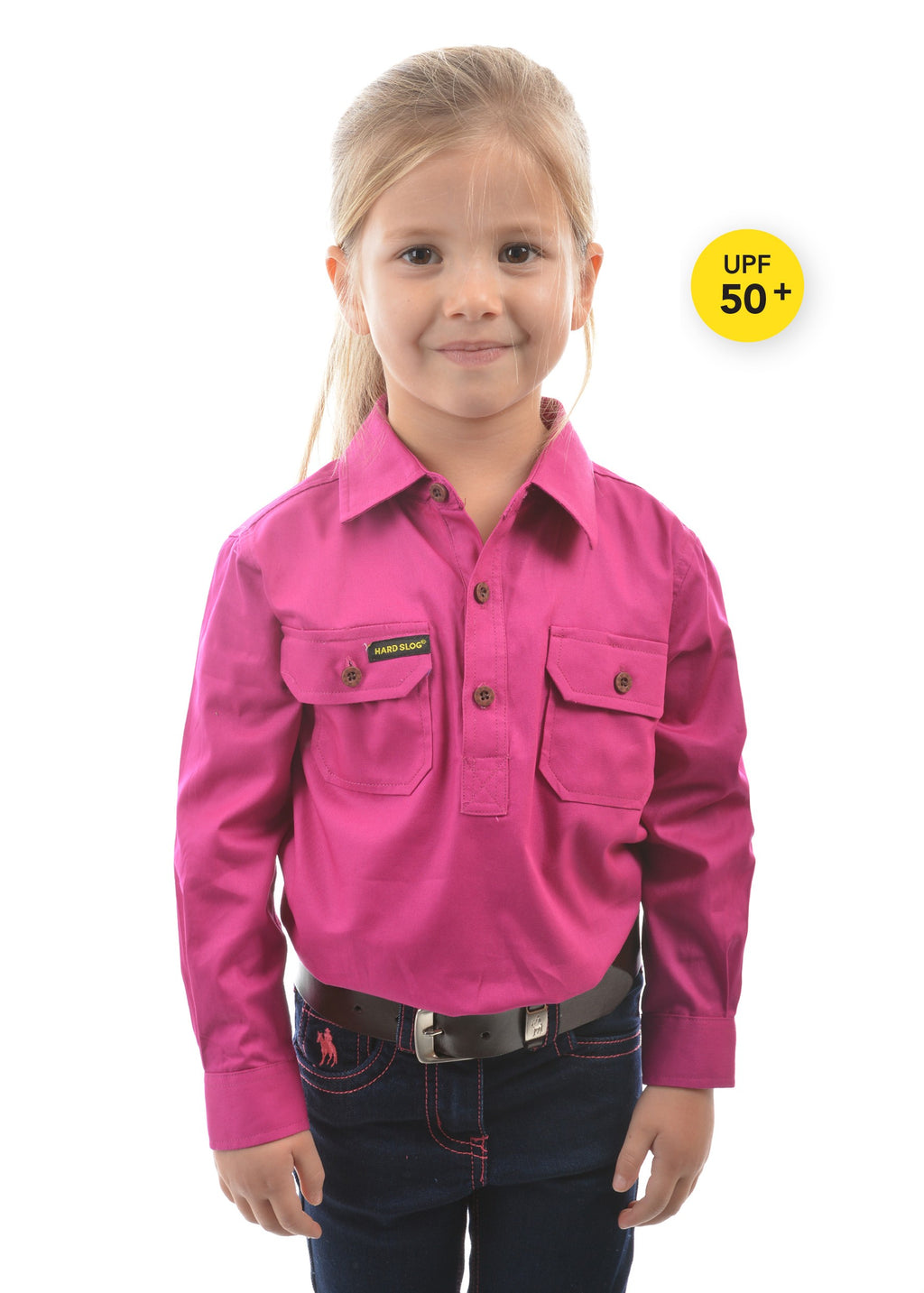 Kids Half Placket Light Cotton Shirt (Fuschia)