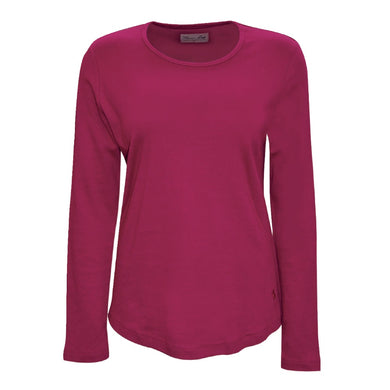 Womens Curved Hem L/S Top Sangria