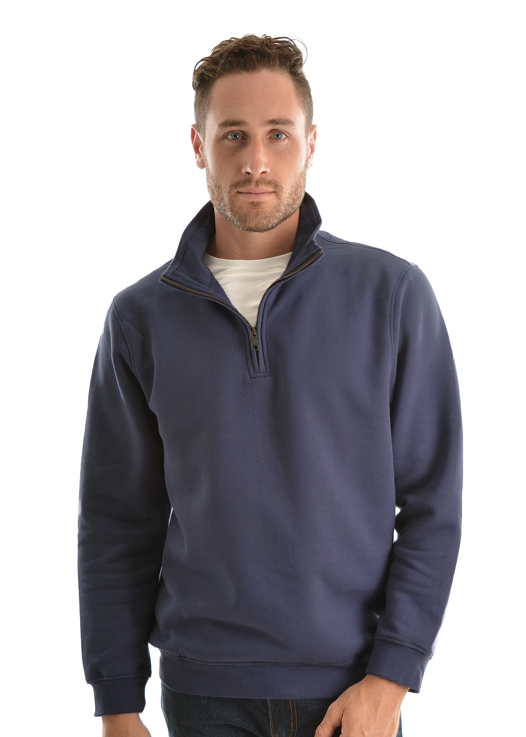Mens 1/4 Zip Fleece Top (Indigo)
