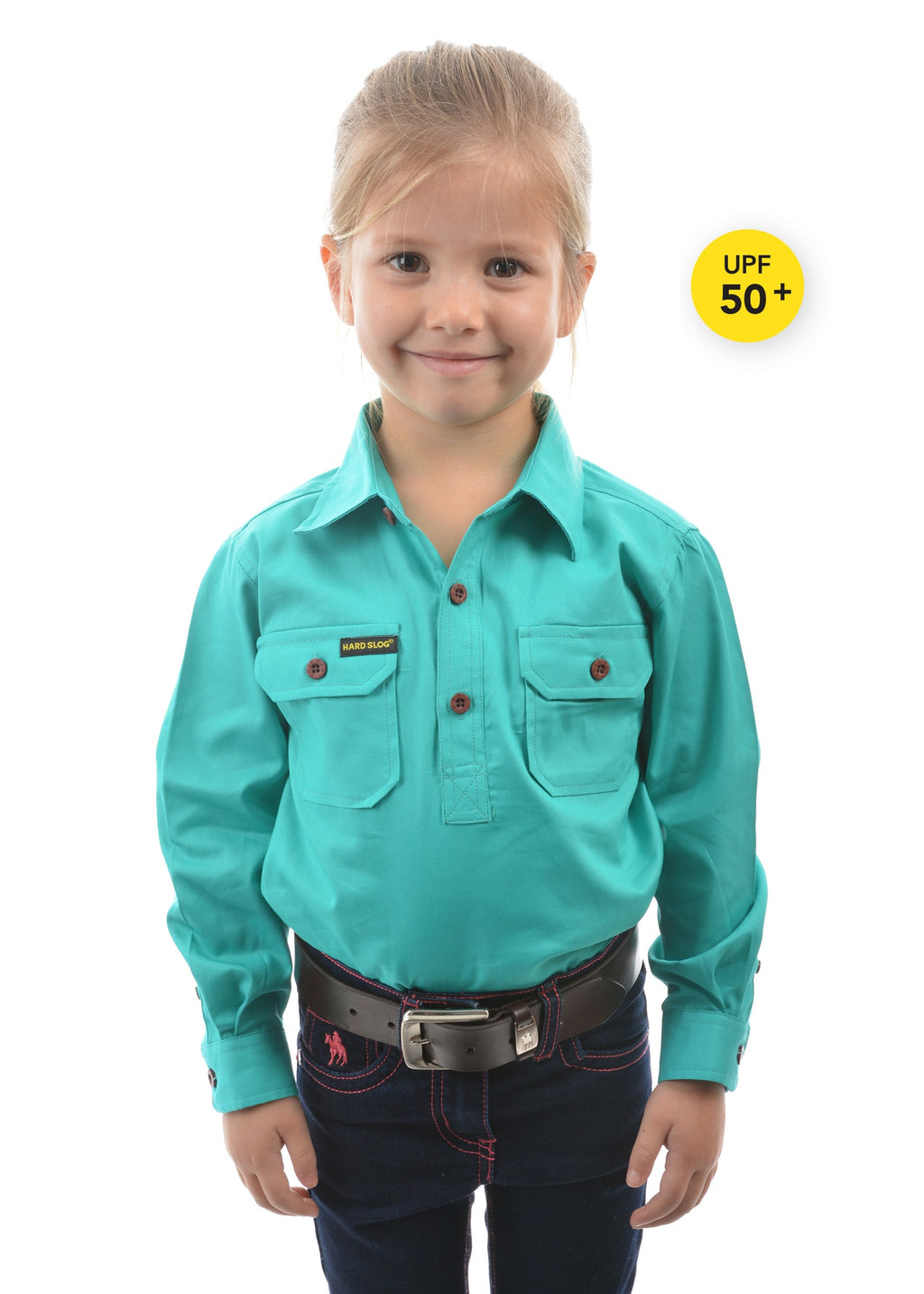 Kids Half Placket Light Cotton Shirt (Turquoise)
