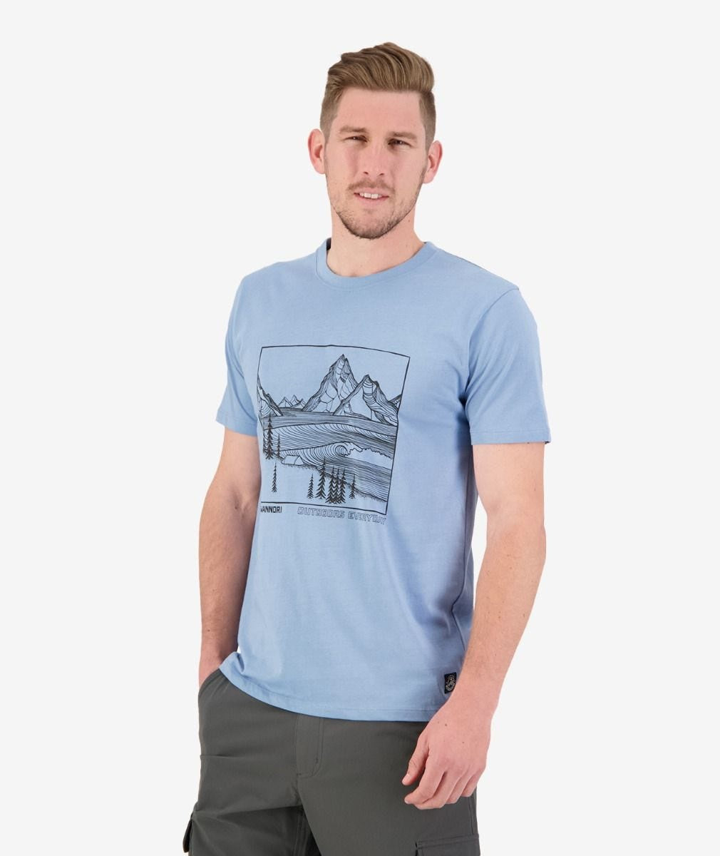 Mens Fiordland Print Tee (Light Blue/Black)