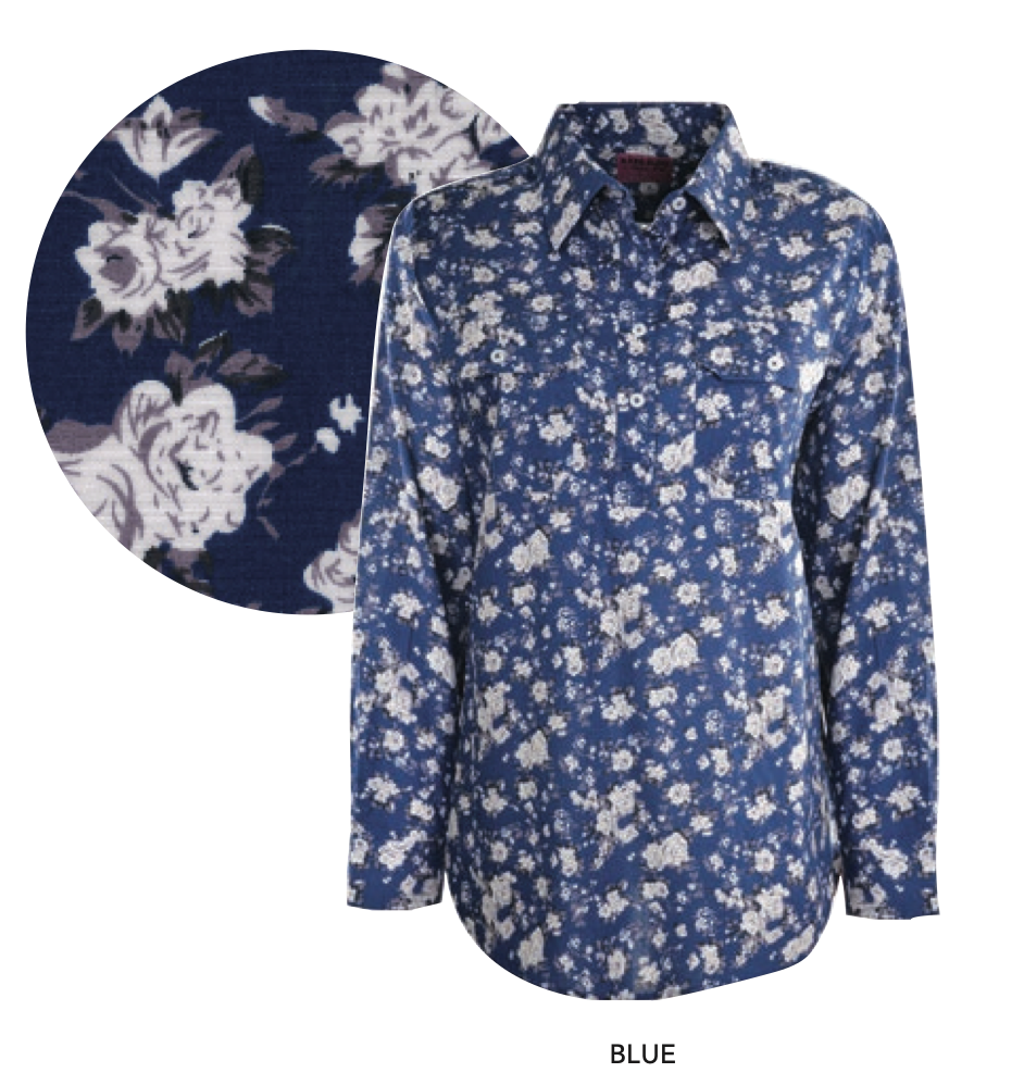 Womens Print Half Placket Long Sleeves Shirt (Blue)