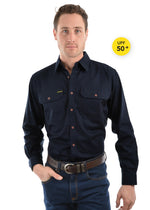 Mens Full Placket Light Cotton Shirt (Dark Navy)