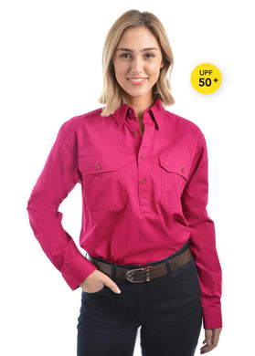 Light Drill Half Placket 2 Pocket Long Sleeve Shirt - Hot Pink