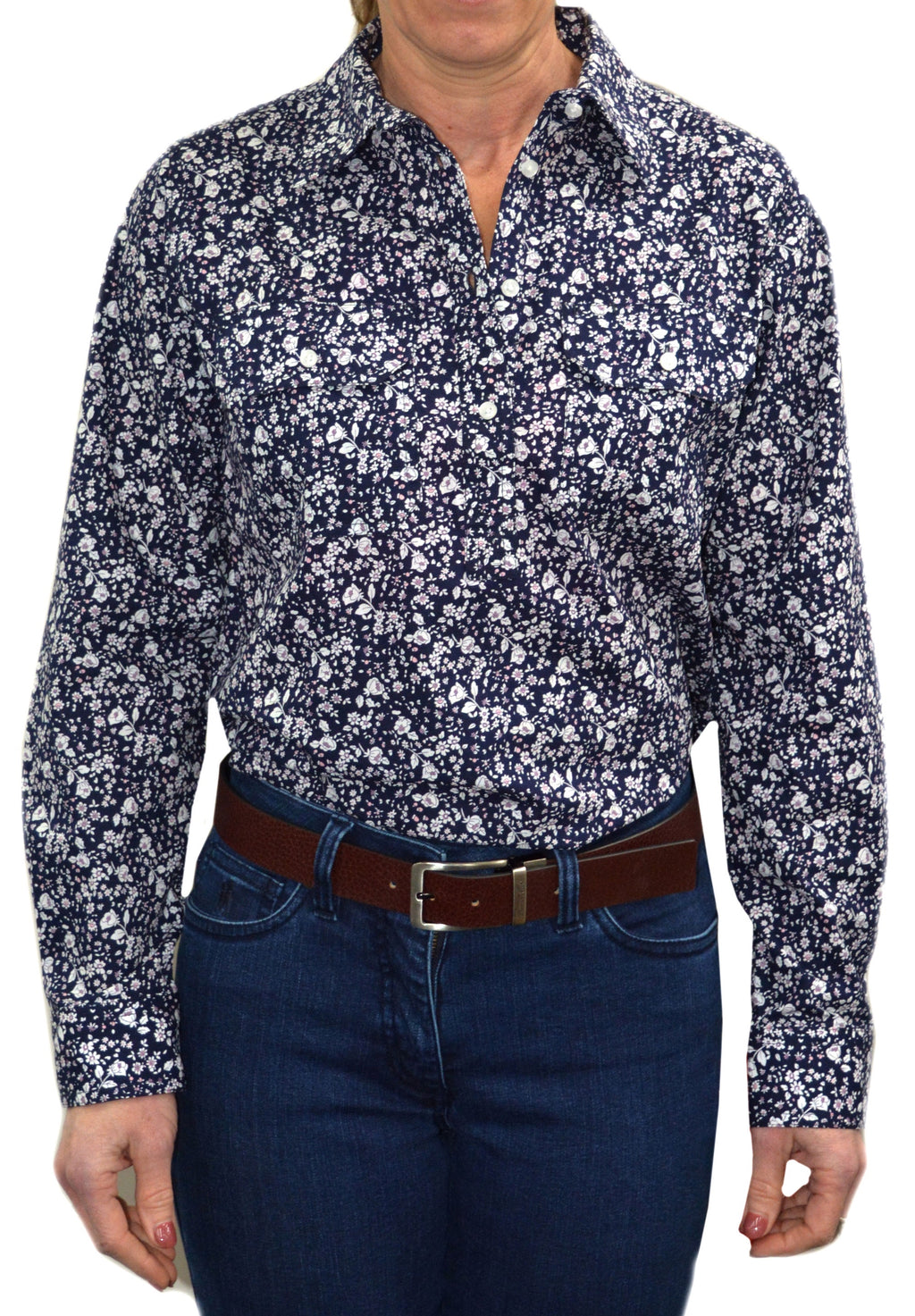 Womens Half Placket Navy/Pink2 pckt Print L/S shirt