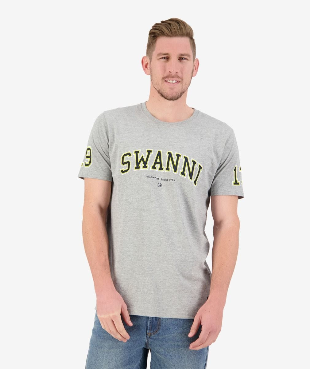Mens Swanni Print Tee (Grey Marle/Black)