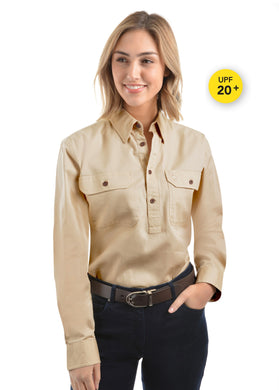 Light Drill Half Placket 2 Pocket Long Sleeve Shirt - Bone