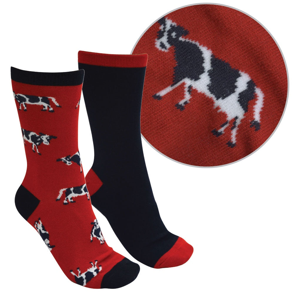 Kids Farmyard Socks - Twin Pack (Red/Navy)