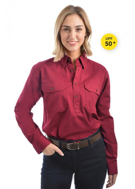 Light Drill Half Placket 2 Pocket Long Sleeve Shirt - Red