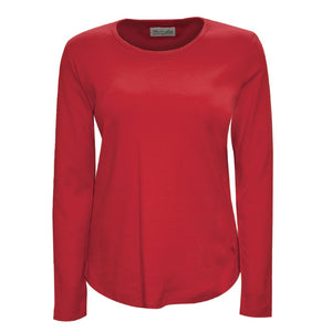 Womens Curved Hem L/S Top Red