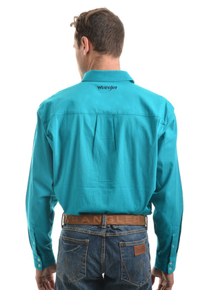 Mens Barrington Drill Long Sleeve Shirt - Teal