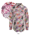 Womens Print Half Placket Long Sleeves Shirt (Pink)