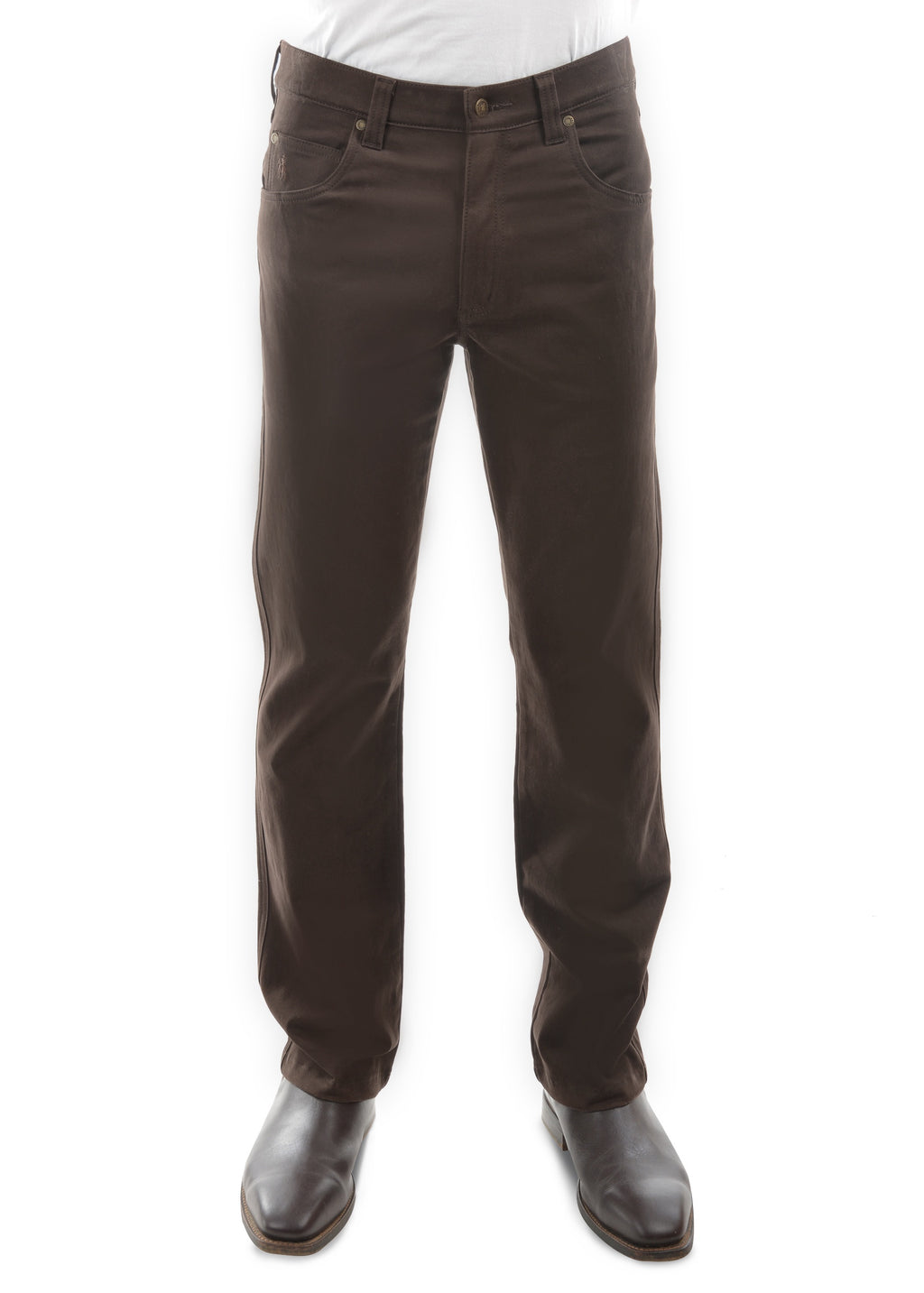 Mens Moleskin Comfort Waist - Rich Brown