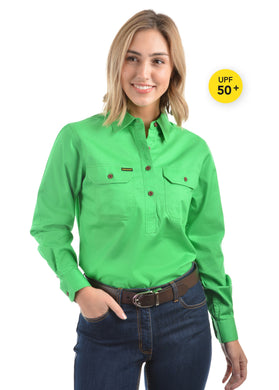 Womens Half Placket Light Cotton Shirt Lime Green