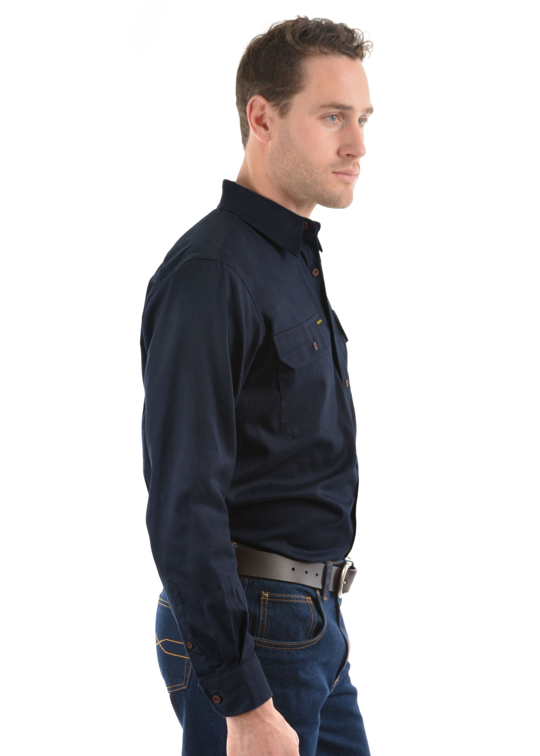 Mens Half Placket Light Cotton Shirt Dark Navy