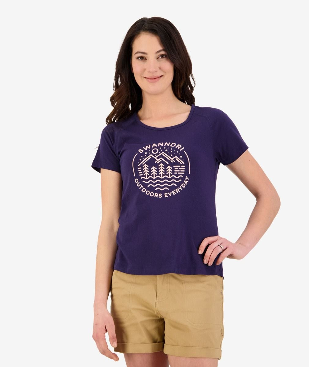 Womens OED Print Tee (Navy/Peach)