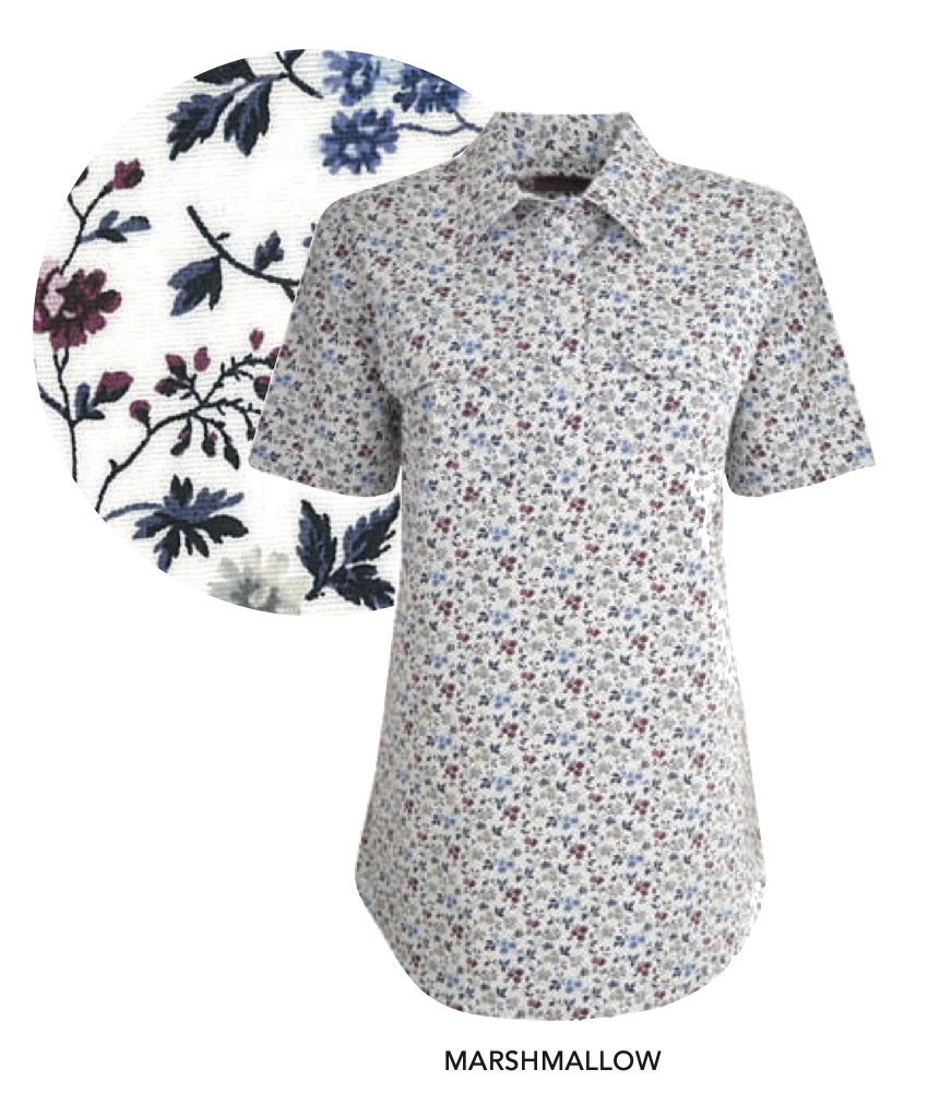 Womens Print Half Placket Short Sleeves Shirt (Marshmallow)