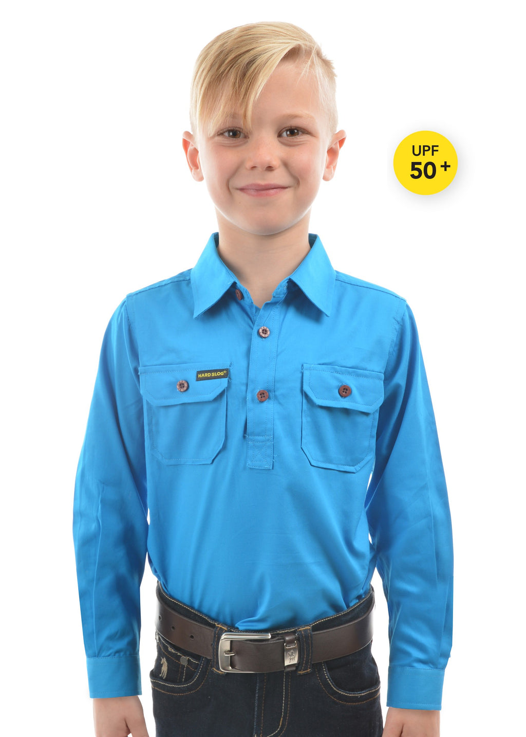 Kids Half Placket Light Cotton Shirt (Bright Blue)