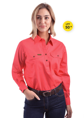 Womens Half Placket Light Cotton Shirt Red Poppy