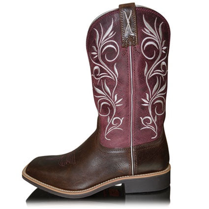 Twisted X Womens Western Boots Top Hand Choc/Maroon