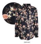 Womens Print Half Placket Long Sleeves Shirt (Dark Navy)