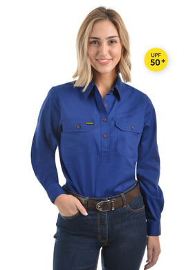 Womens Half Placket Light Cotton Shirt Royal Blue