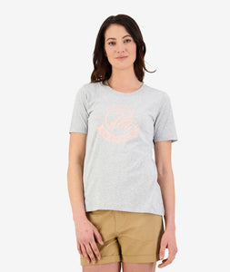 Womens Heritage Logo Tee (Grey Marle/Peach Coral)