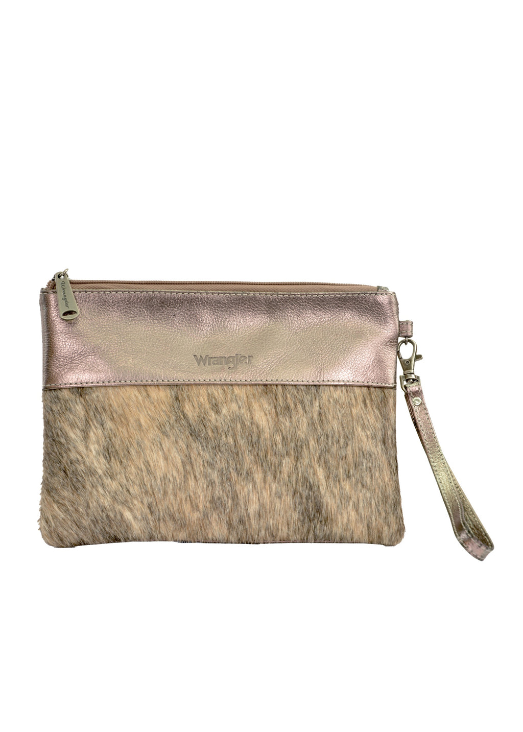 Womens Cowhide Clutch (Pewter)