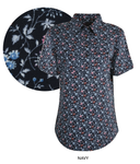 Womens Print Half Placket Short Sleeves Shirt (Navy)