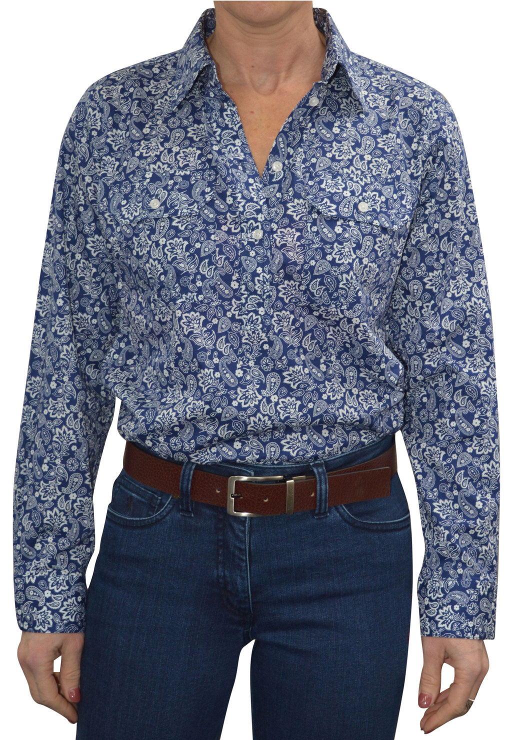 Womens Half Placket Blue 2 pckt Print L/S shirt