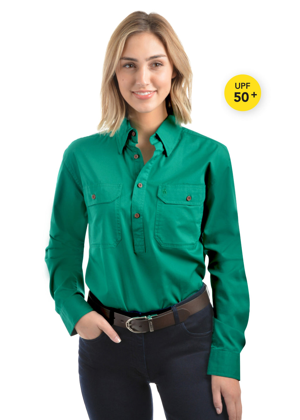 Light Drill Unisex  Half Placket 2 Pocket Long Sleeve Shirt - Bright Green