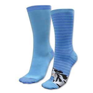 Kids Homestead Socks-Twin Pack (Blues (Cleo Cow))