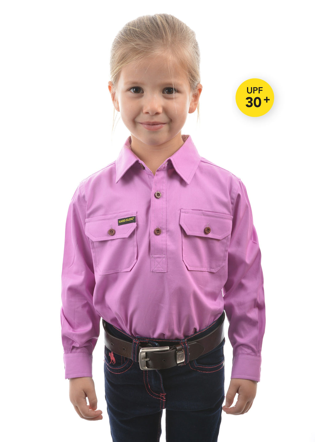 Kids Half Placket Light Cotton Shirt (Violet)
