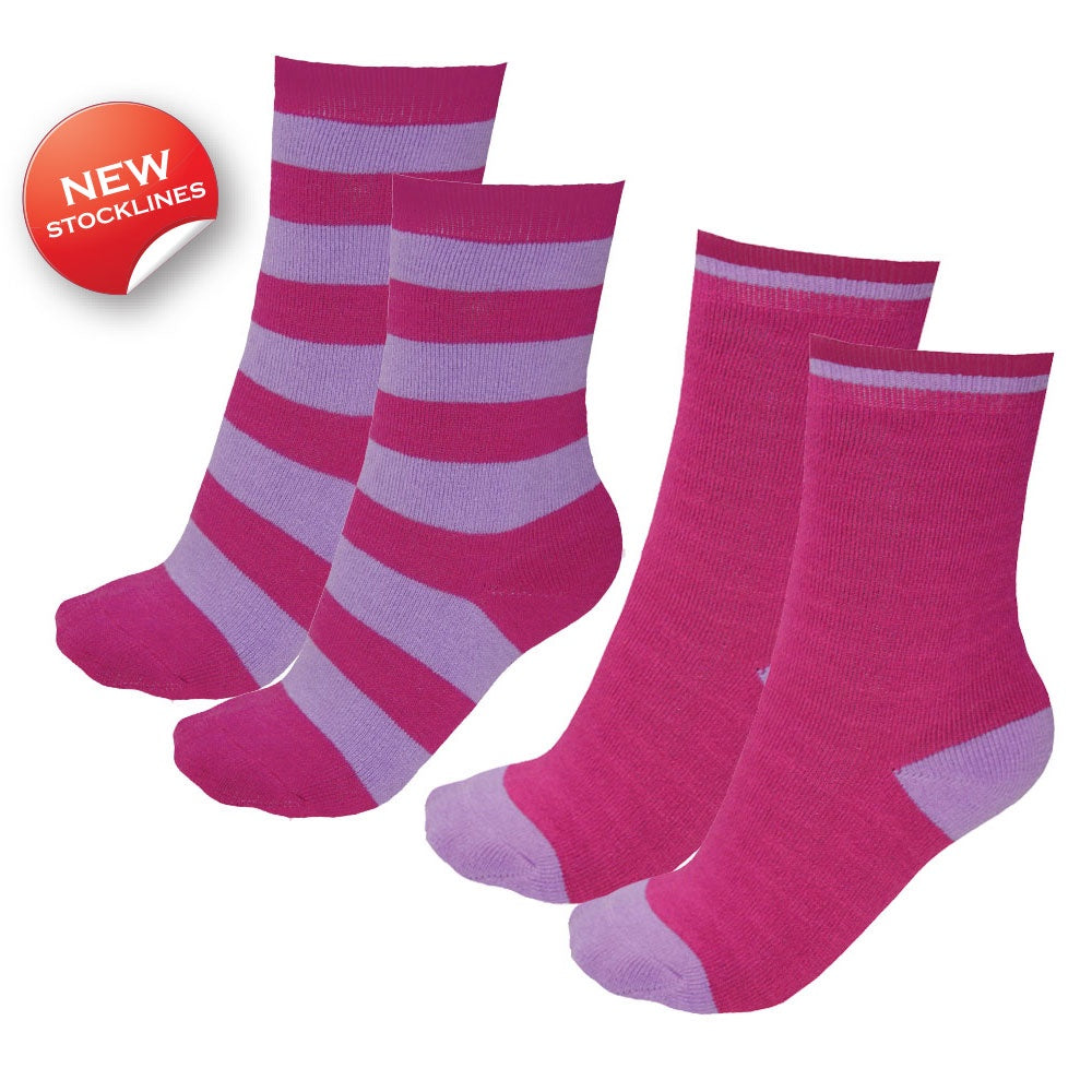 Kids Thermal Socks Twin Pack (Bright Pink/Lilac)